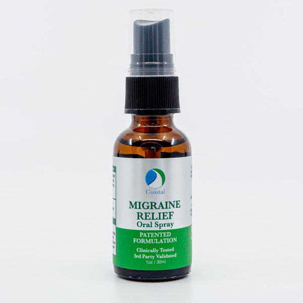 Dropper bottle of Migraine Relief Spray with silver and green label by New Coastal