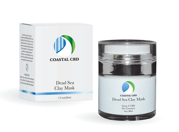 Box and container of Dead Sea Clay Mask with CBD by New Coastal
