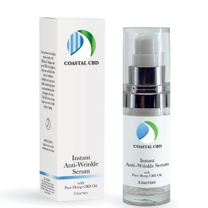 Box and pump bottle of Instant Anti-Wrinkle Serum with Pure Hemp CBD Oil by New Coastal