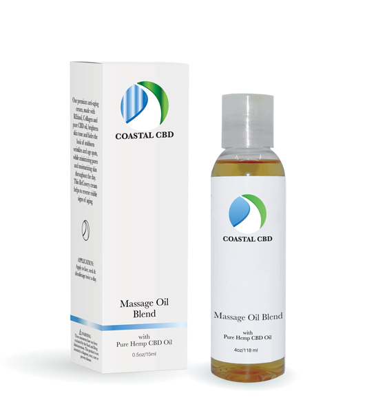 Box and bottle of Massage Oil Blend by New Coastal