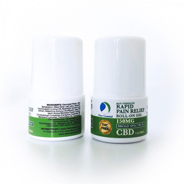 Front and back view of Rapid Pain Relief Roll-On Gel, 150MG, THC Free Broad Spectrum CBD | New Coastal