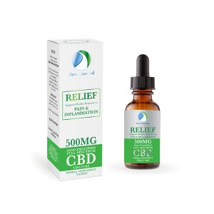 RELIEF CBD for Pain and Inflammation box and 500 MG Full Spectrum CBD dropper bottle by New Coastal