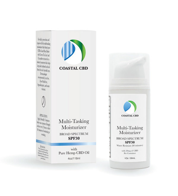 Box and pump bottle of Multi-Tasking Moisturizer SPF30 with Broad Spectrum Pure Hemp CBD Oil by New Coastal