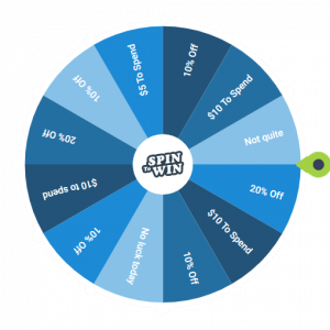 Large Spin to Win wheel with discount offers | New Coastal