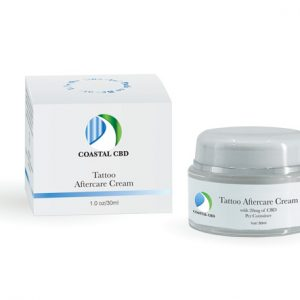 Box and container of Tattoo Aftercare Cream with CBD by New Coastal