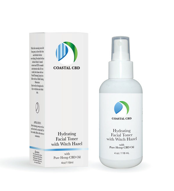 Box and pump bottle of Hydrating Facial Toner with Witch Hazel and Pure Hemp CBD Oil by New Coastal