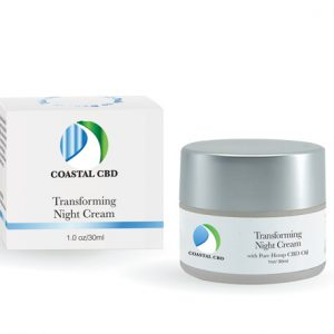 Box and container of Transforming Night Cream with Pure Hemp CBD by New Coastal