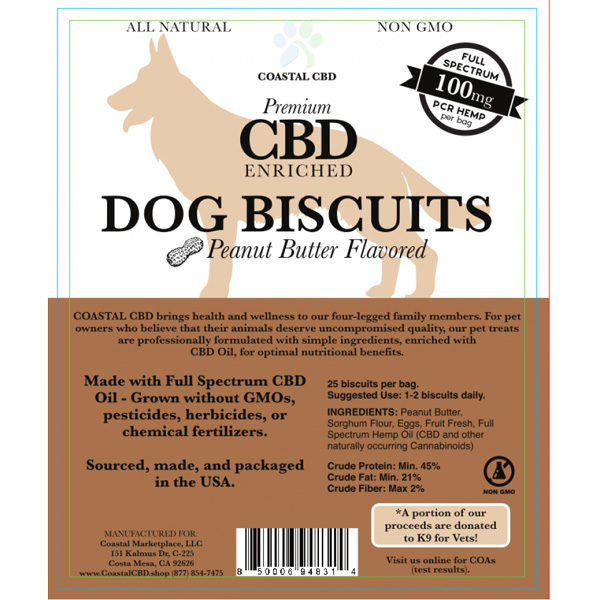 Brown front label of CBD Enriched Peanut Butter Flavored Dog Biscuits by New Coastal