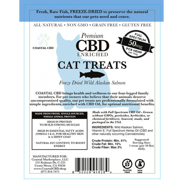 Blue front label of CBD Enriched Freeze Dried Wild Alaskan Salmon Cat Treats by New Coastal