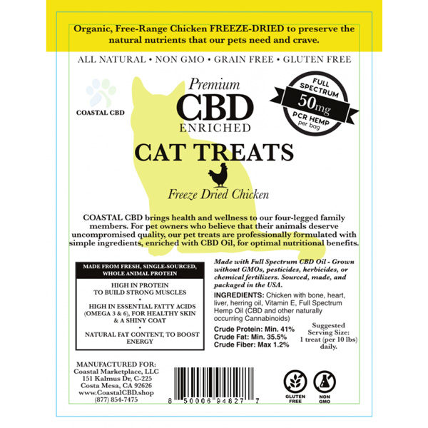 Yellow front label of CBD Enriched Freeze Dried Chicken Cat Treats by New Coastal