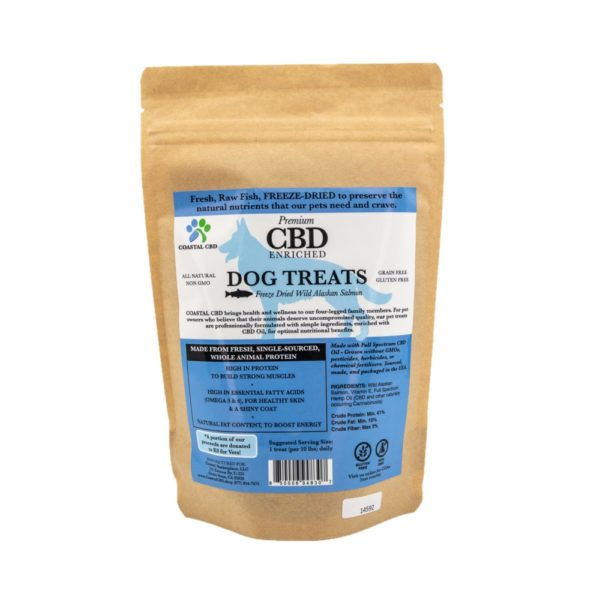 Back label of CBD Enriched Freeze Dried Salmon Dog Treats by New Coastal