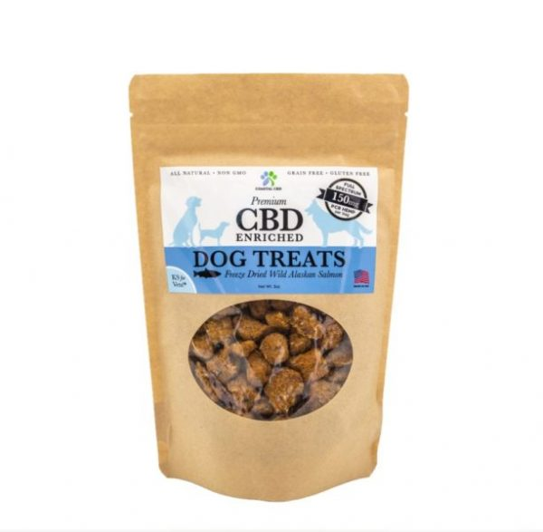 Front label of CBD Enriched Freeze Dried Wild Alaskan Salmon Dog Treats by New Coastal