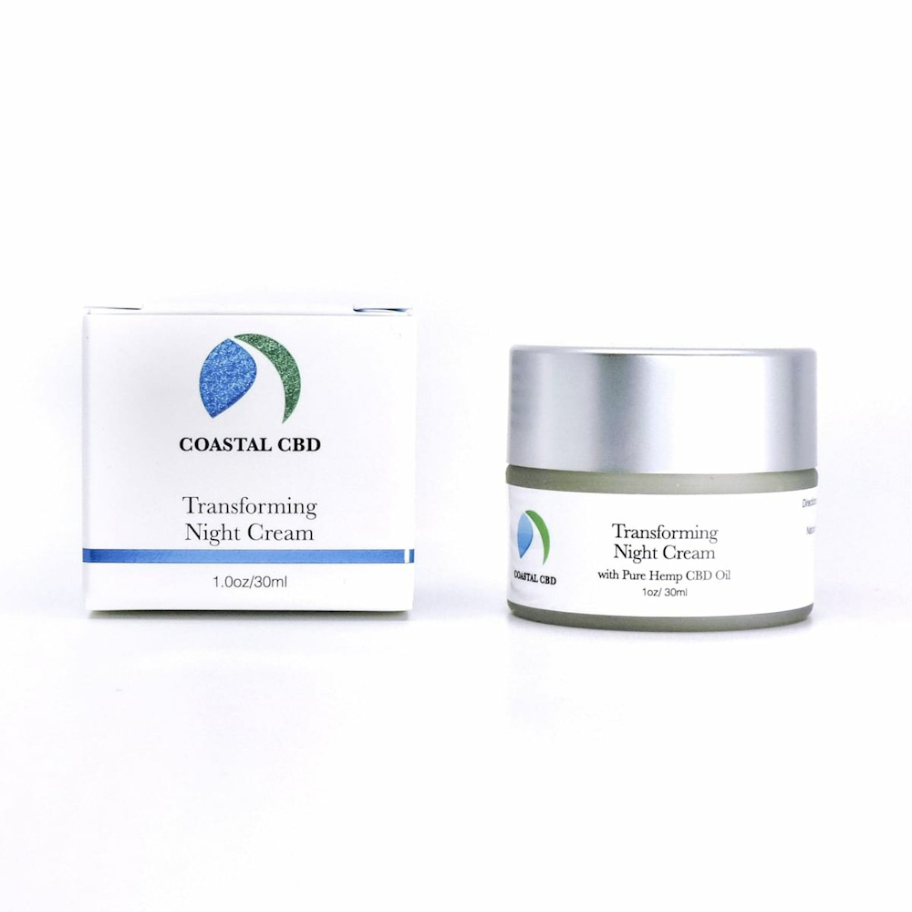 Box and container of Transforming Night Cream with Pure Hemp CBD by New Coastal | newcoastal.shop