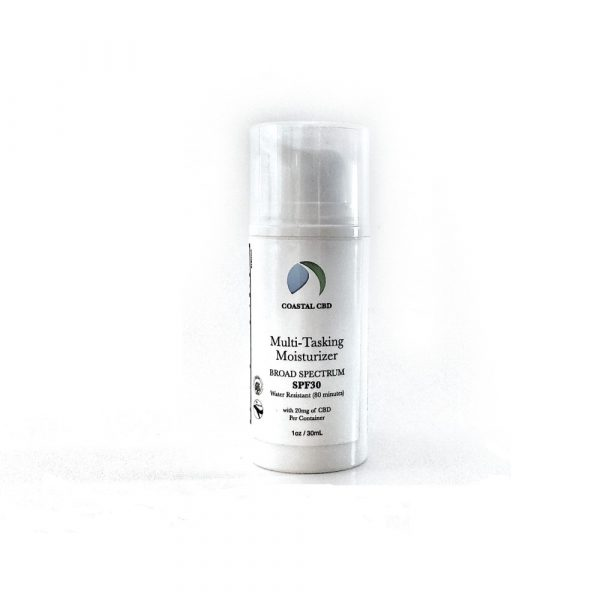 Pump bottle of Multi-Tasking Moisturizer SPF30 with Broad Spectrum Pure Hemp CBD Oil by New Coastal | newcoastal.shop
