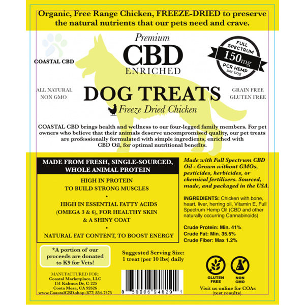 Yellow front label of CBD Enriched Freeze Dried Chicken Dog Treats by New Coastal