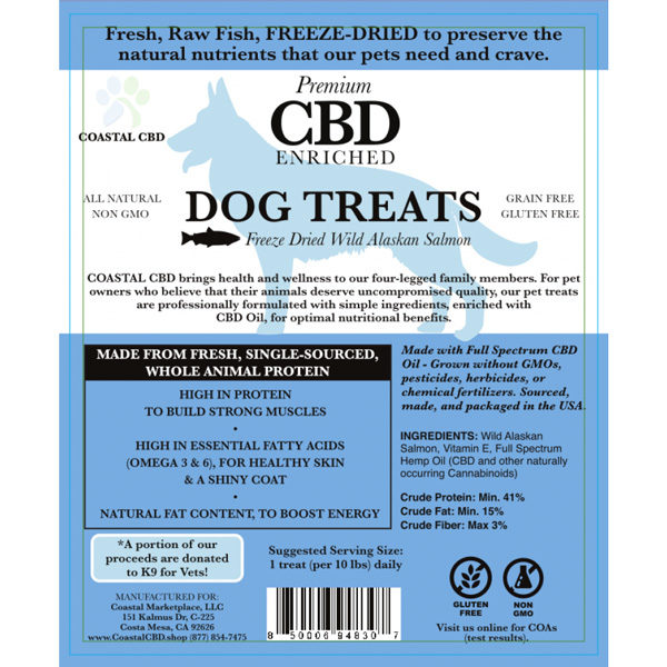Blue front label of CBD Enriched Freeze Dried Wild Alaskan Salmon Treats by New Coastal