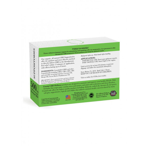 Back label view of box of 500 mg Hemp CBD Ozone Suppositories | New Coastal