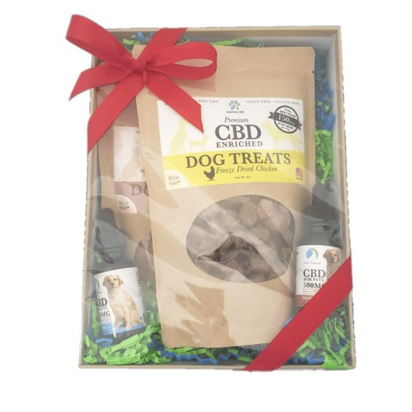 Boxed CBD Gift Set: shows boxed, wrapped gift set for Large Dogs with treats and CBD oil by New Coastal