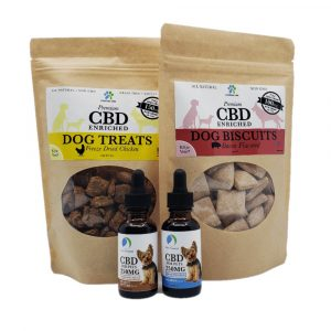 CBD Pet Care Gift Set: two bags of chicken and salmon CBD dog treats and two 250MG bottles of CBD oil for small dogs by New Coastal | newcoastal.shop