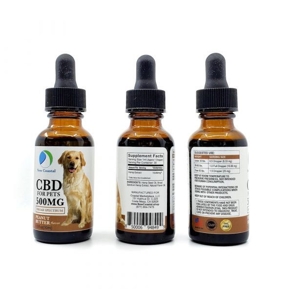 3 Views of Dropper Bottle of Peanut Butter Flavor Broad Spectrum CBD for Pets, 1.0 fl oz (30ml) 500MG by New Coastal CBD | newcoastal.shop