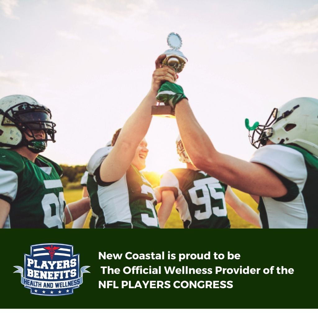 Poster showing 4 NFL players holding a trophy | New Coastal