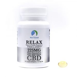 Bottle of 30 RELAX CBD Liquid Softgels for Stress and Anxiety Support, 7.5 mg ea., 225MG total by New Coastal CBD | newcoastal.shop