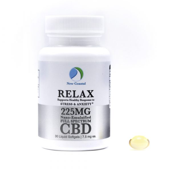 Bottle of 30 RELAX CBD Liquid Softgels for Stress and Anxiety Support, 7.5 mg ea., 225MG total by New Coastal CBD