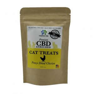 Front of bag and label of CBD Enriched Freeze Dried Chicken Cat Treats by New Coastal