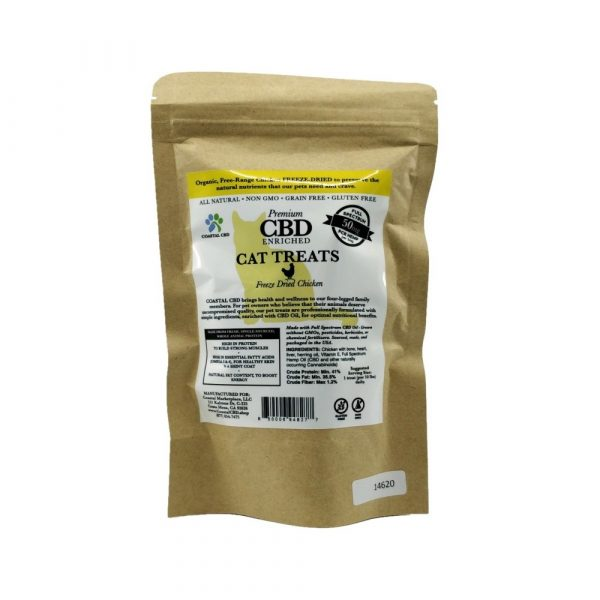 Back of bag and label of CBD Enriched Freeze Dried Chicken Cat Treats by New Coastal