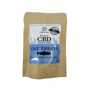 Front of bag and label of CBD Enriched Freeze Dried Wild Alaskan Salmon Cat Treats by New Coastal