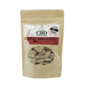 Front of bag and label of CBD Enriched Bacon Flavored Dog Biscuits by New Coastal