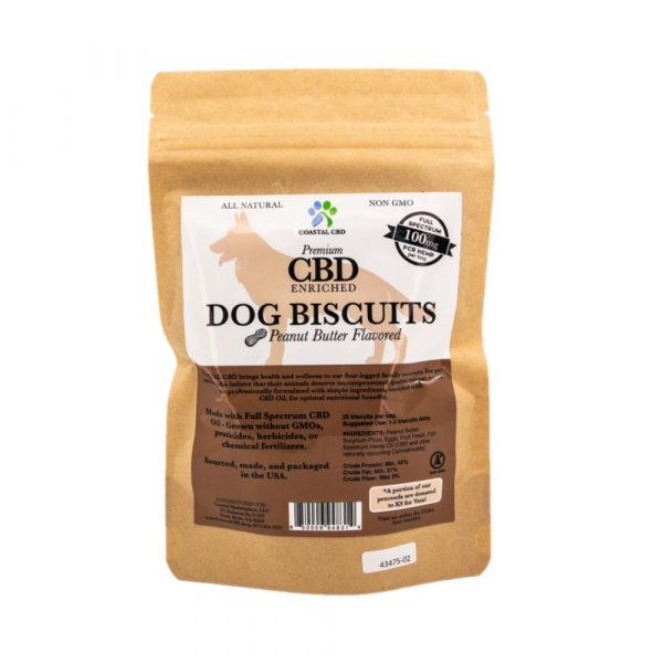 Back of bag and label of CBD Enriched Peanut Butter Flavor Dog Biscuits by New Coastal