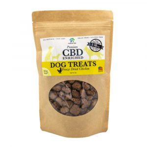 Front of bag and label of CBD Enriched Freeze Dried Chicken Dog Treats by New Coastal