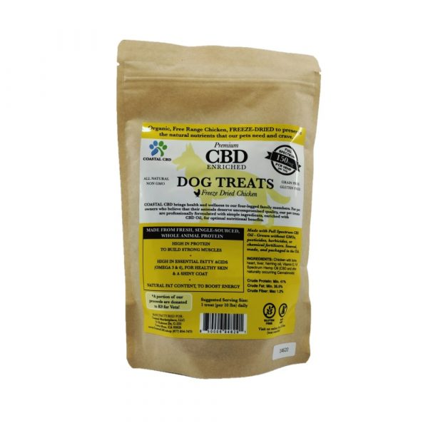 Back of bag and label of CBD Enriched Freeze Dried Chicken Dog Treats by New Coastal