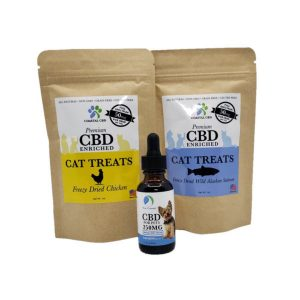 CBD Pet Care Gift Set: two bags of chicken and salmon CBD cat treats and 250MG bottle of CBD oil by New Coastal | newcoastal.shop