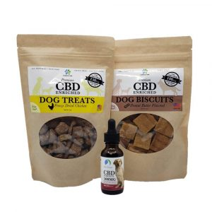 CBD Pet Care Gift Set: two bags of CBD dog treats and 500MG bottle of CBD oil by New Coastal | newcoastal.shop