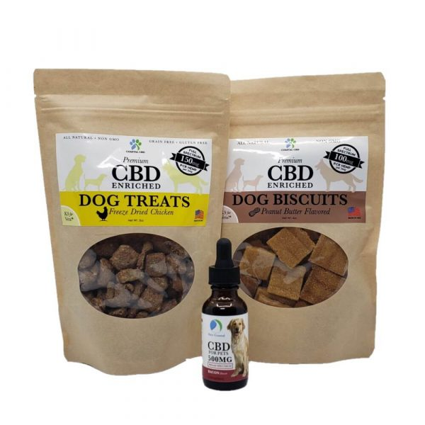 CBD Pet Care Gift Set: two bags of CBD dog treats and 500MG bottle of CBD oil by New Coastal