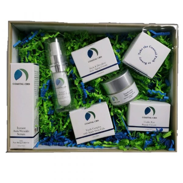 CBD Skincare Anti-Aging Box Set: open box shows 7 containers of 3 creams, lotion, serum, complex and moisturizer by New Coastal | newcoastal.shop