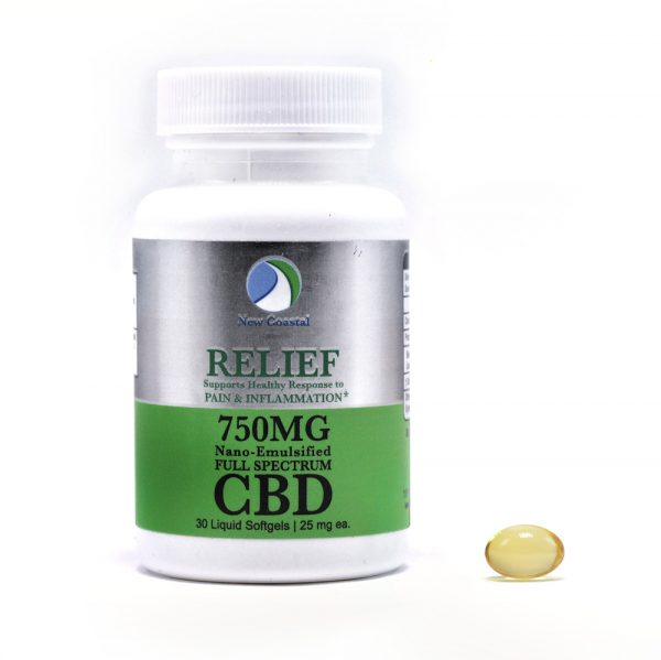 Bottle of 30 RELIEF CBD Liquid Softgels for Pain and Inflammation Support, 25 mg ea., 750MG total CBD by New Coastal CBD | newcoastal.shop