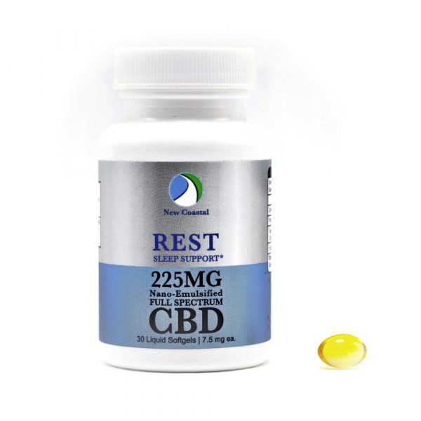 Bottle of 30 REST CBD Liquid Softgels for Sleep Support, 7.5 mg ea., 225MG total by New Coastal CBD | newcoastal.shop