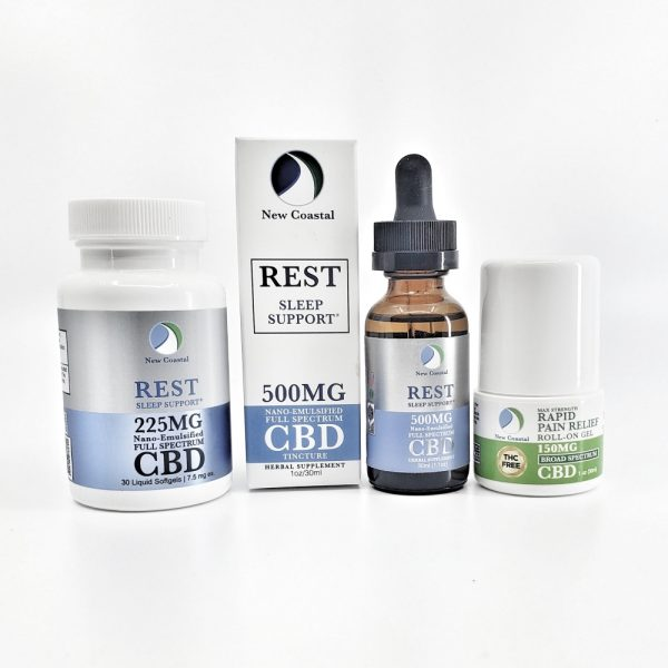 REST CBD Wellness Gift Set: 4 containers including bottle of tincture, softgels and pain relief roll-on gel by New Coastal