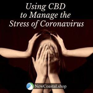 Square banner referencing use of CBD for management of coronavirus stress with CBD showing young woman covering face with hands | New Coastal