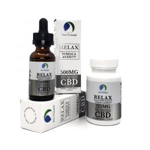 Display or RELAX CBD tincture and 225MG bottle of softgels with packaging | New Coastal